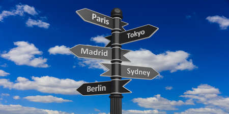 capital cities: 3D rendering of indicators with diffrent capital cities on signpost against of cloudy sky.Paris,Tokyo,Madrid,Sydney,Berlin.