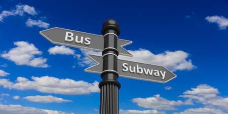 two grey arrowheads on signpole against of cloudy sky.Bus and subway