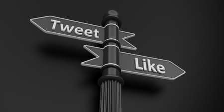 tweet: 3D rendering of tweet and like arrows on signpole.Isolate.