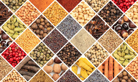 seeds of various: Various colorful spice seeds collage