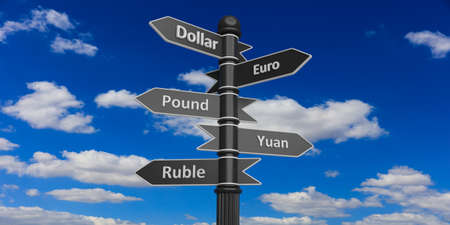 multiple choice: 3D rendering of indicators on signpost against of cloudy sky.Dollar,euro,pound,yuan,ruble.