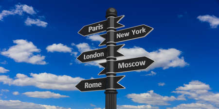 guide board: 3D rendering of signpost with indicators on sky background.Paris,New York,London,Moscow,Rome.