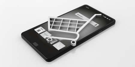 e white: 3d rendering e commerce symbol on a smart phone, white background