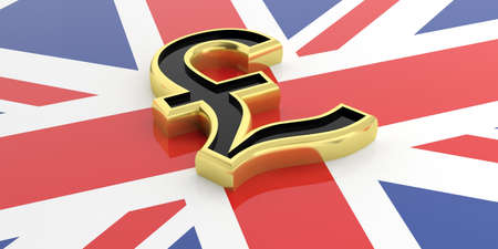 british pound: 3d rendering golden British pound symbol on a GB flag Stock Photo