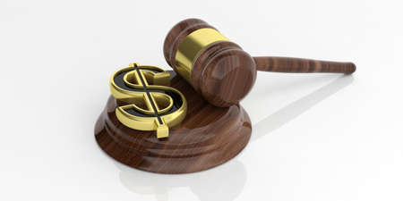 auction gavel: 3d rendering golden american dollar symbol and an auction gavel Stock Photo