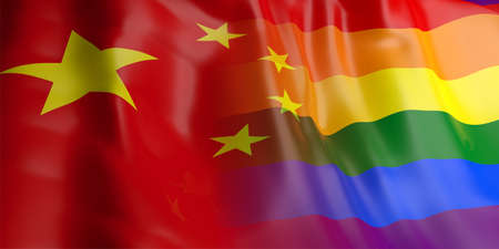 bandera gay: Representación 3d Turquía y agitando bandera gay