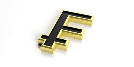 swiss: 3d rendering golden Swiss franc symbol on white background