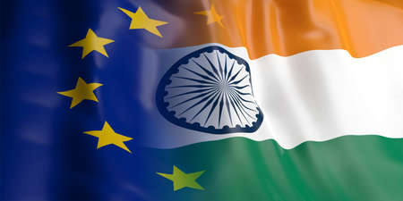 opposed: 3d rendering EU and India flag waving Stock Photo