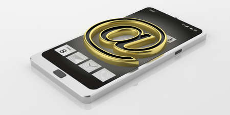 isolated sign: 3d rendering mail symbol on a smartphone on white background
