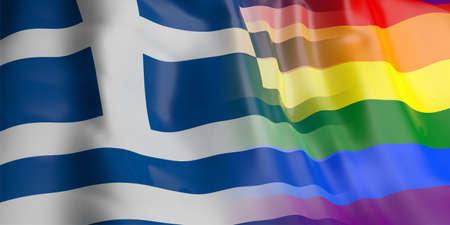 bandera gay: Representación 3D Grecia y agitando bandera gay