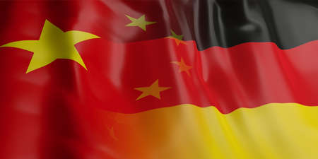 3d rendering China and Germany flag waving