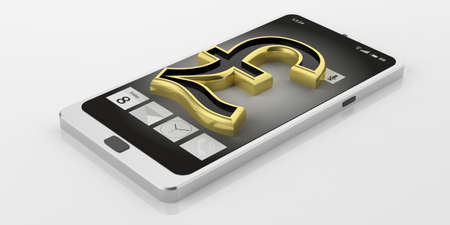 british pound: 3d rendering golden British pound symbol on a smart phone