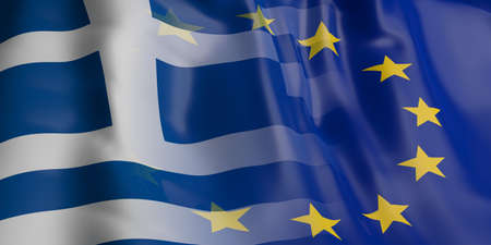 opposed: 3d rendering EU and Greece flag waving