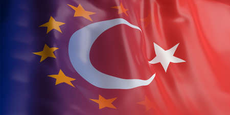 opposed: 3d rendering EU and Turkey flag waving Stock Photo
