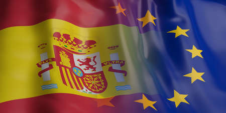 opposed: 3d rendering EU and Spain flag waving Stock Photo