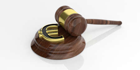 auction gavel: 3d rendering golden euro symbol and an auction gavel Stock Photo