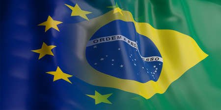 opposed: 3d rendering Brazil and EU flag waving