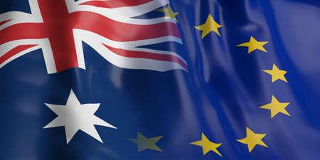 opposed: 3d rendering Australia and EU flag waving Stock Photo