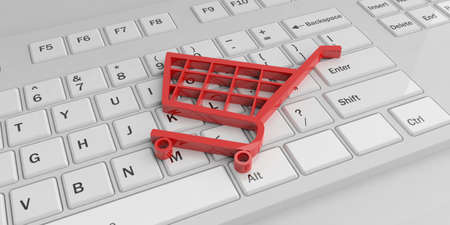 e commerce icon: 3d rendering red e commerce symbol on a white keyboard