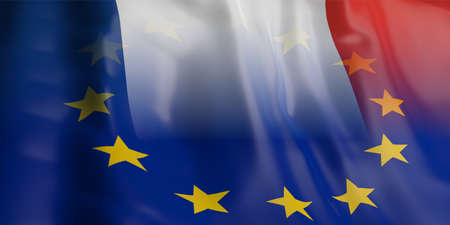 opposed: 3d rendering France and EU flag waving