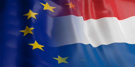 opposed: 3d rendering EU and Netherlands flag waving Stock Photo