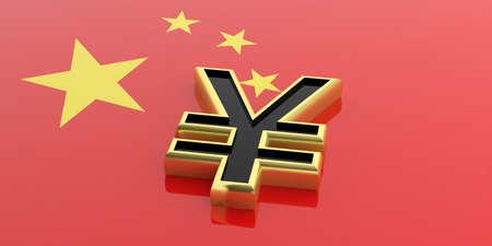 yuan: 3d rendering golden yuan on China flag
