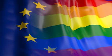 bandera gay: Representación 3D de la UE y agitando bandera gay Foto de archivo