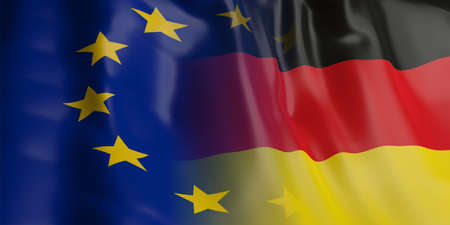 3d rendering EU and Germany flag waving Stock Photo