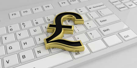 british pound: 3d rendering golden British pound symbol on a keyboard