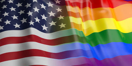 opposed: 3d rendering USA and gay flag waving