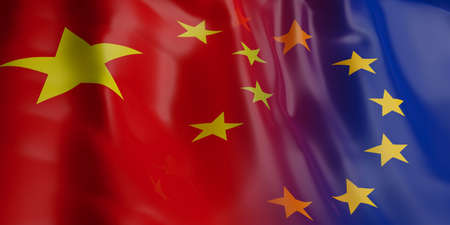 opposed: 3d rendering China and EU flag waving