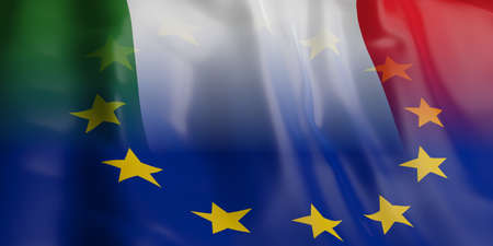 opposed: 3d rendering EU and Italy flag waving