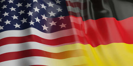 3d rendering USA and Germany flag waving Stock Photo