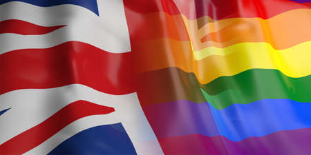 opposed: 3d rendering UK and gay flag waving