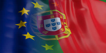 3d rendering EU and Portugal flag waving