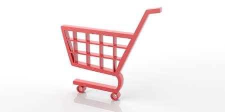 e white: 3d rendering red e commerce symbol on white background