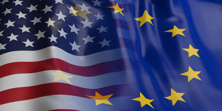 merged: 3d rendering EU and USA flag waving