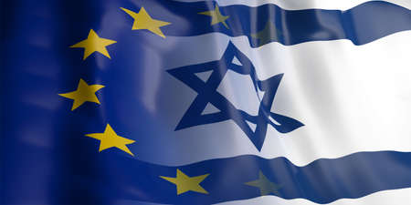 opposed: 3d rendering EU and Israel flag waving