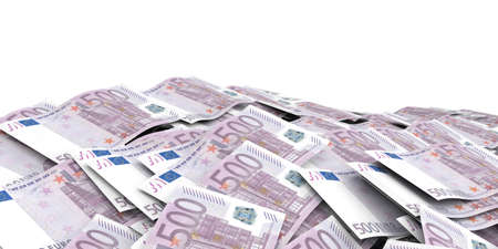 batch of euro: 3d rendering 500 euro banknotes as background Stock Photo