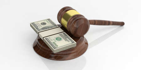 auction gavel: 3d rendering 100 dollar banknotes stacks and an auction gavel on white background Stock Photo
