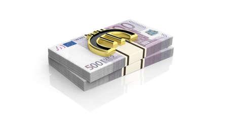 3d rendering golden euro symbol on 500 euro banknotes stacks