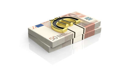 batch of euro: 3d rendering golden euro symbol on 50 euro banknotes stacks