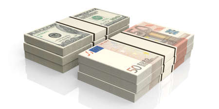 batch of euro: 3d rendering euro and dollar banknotes stacks Stock Photo