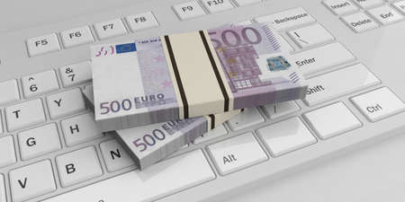 batch of euro: 3d rendering 500 euro banknotes stacks on a white keyboard Stock Photo