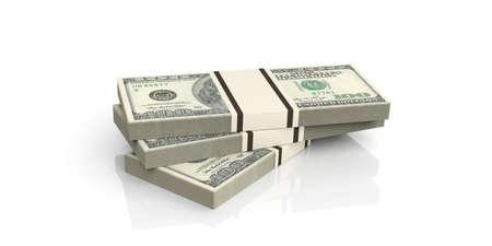 3d que rinde 100 billetes de dólar en el fondo blanco