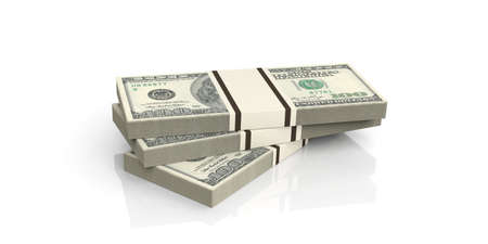 batch of dollars: 3d rendering 100 dollar banknotes on white background