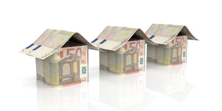 3d rendering 50 euro houses on white background