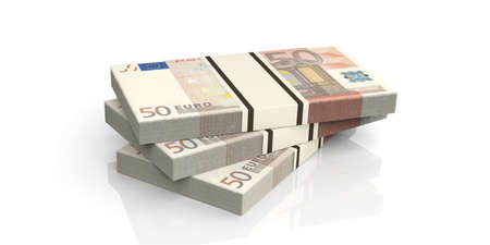 batch of euro: 3d rendering fifty euro banknotes stacks on white background