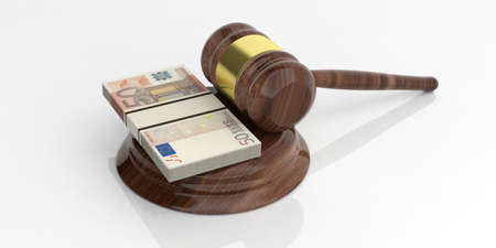 3d rendering 50 euro banknotes stacks and an auction gavel on white background