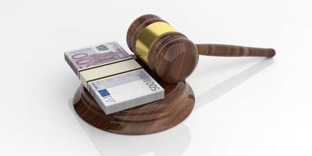 batch of euro: 3d rendering 500 euro banknotes stacks and an auction gavel on white background